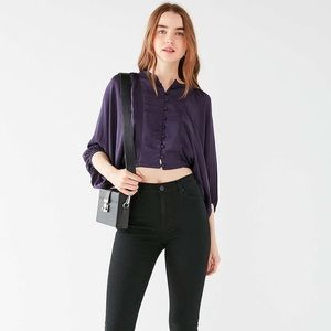 UO Covered Button Down Tie Top Small